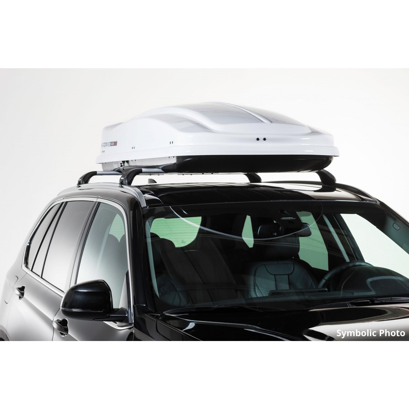coffre de toit nordrive 430l blanc le coffre de toit offre sur mesure. Black Bedroom Furniture Sets. Home Design Ideas